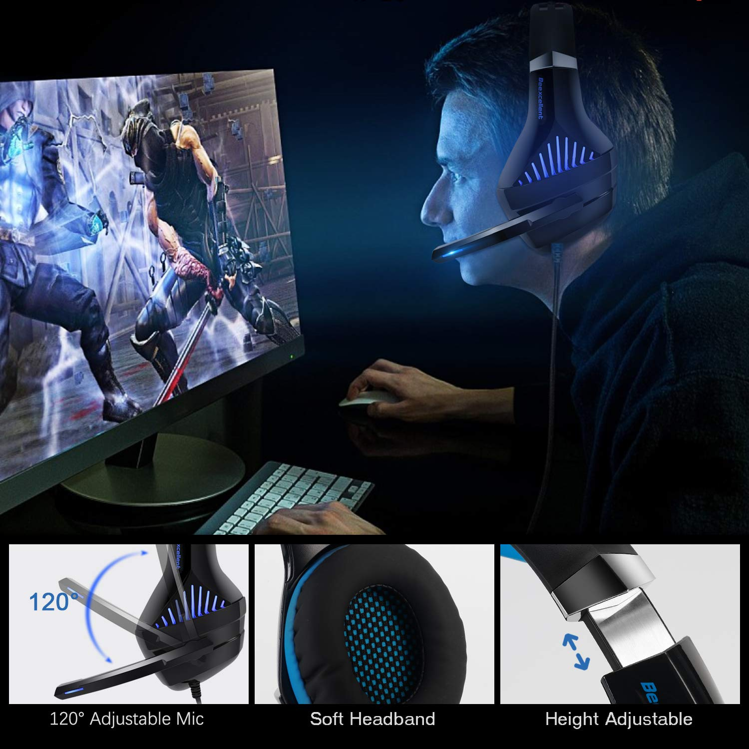 Gaming Headset,OfficeLead Stereo Headphones for Laptop,Tablet,PS4, PC, Xbox One Controller, Noise Cancelling Over Ear Headset with Mic, LED Light, Bass Surround by MMUSC