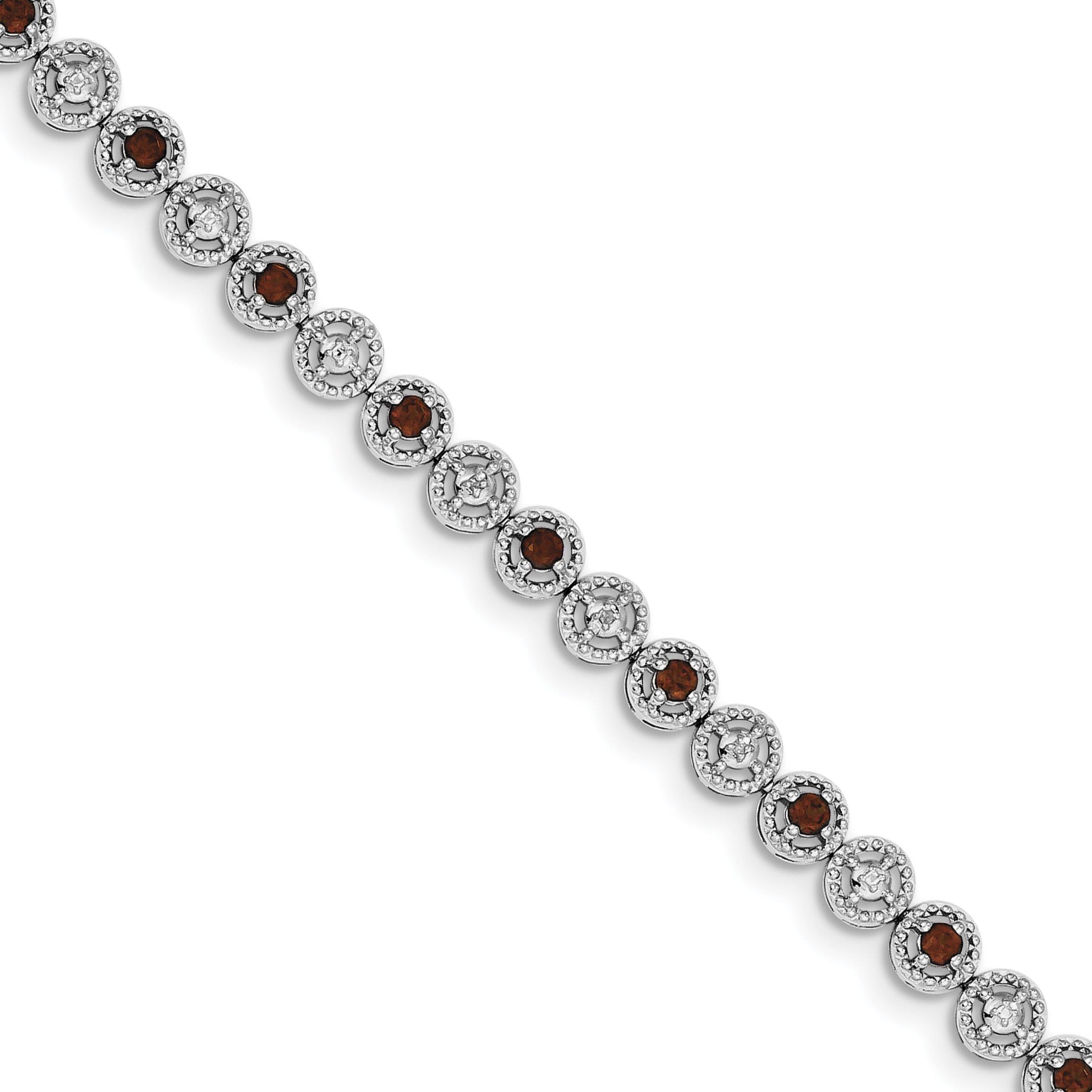 ICE CARATS 925 Sterling Silver Red Garnet Diamond Bracelet 7 Inch Gemstone Fine Jewelry Gift Set For Women Heart