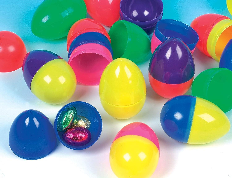 Baker Ross Huevos de Colores Hechos de Plástico Perfectos para Rellenar de Dulces y Ofrecer como Divertidos Premios y Regalos de Fiestas Infantiles (Por pack de 12)