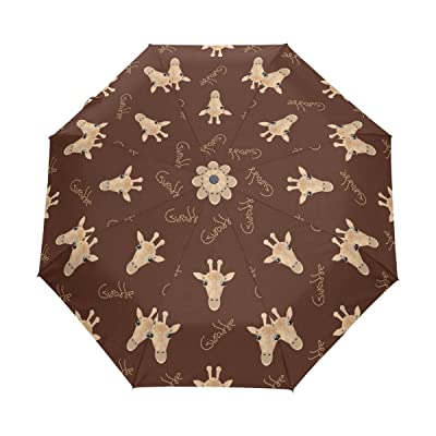 Aideess Giraffe Windproof & Waterproof Compact Travel Umbrella - Auto Open Close Folding Umbrella Sturdy Lightweight Easy Carrying Parasol for Men Women and Kids