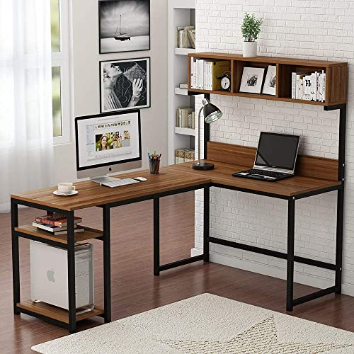 Tribesigns L-Shaped Desk with Hutch, 68 Corner Computer Desk Gaming Table Workstation with Storage Bookshelf for Home Office Dark Walnut