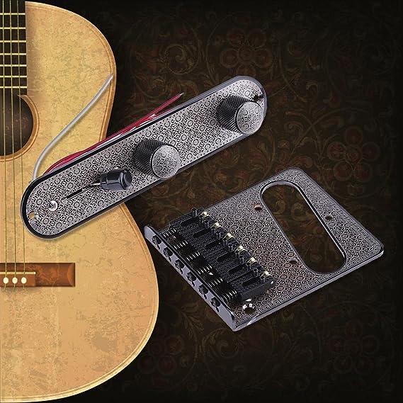 domybest Telecaster Bridge Impresión alivio para guitarra eléctrica Puente Pickup 6 tono TL cordal (negro): Amazon.es: Instrumentos musicales
