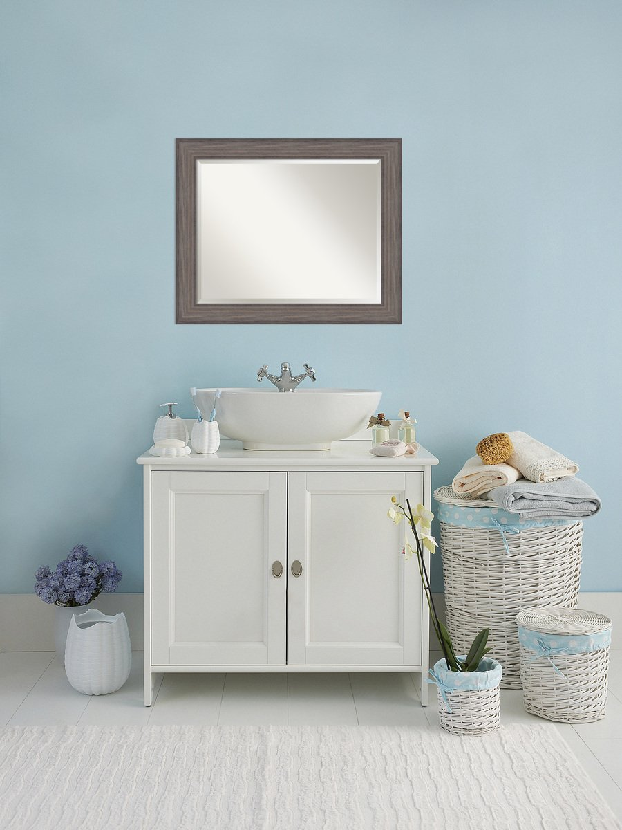 Amazon.com: Bathroom Mirror Large, Country Barnwood: Outer Size 34 x ...