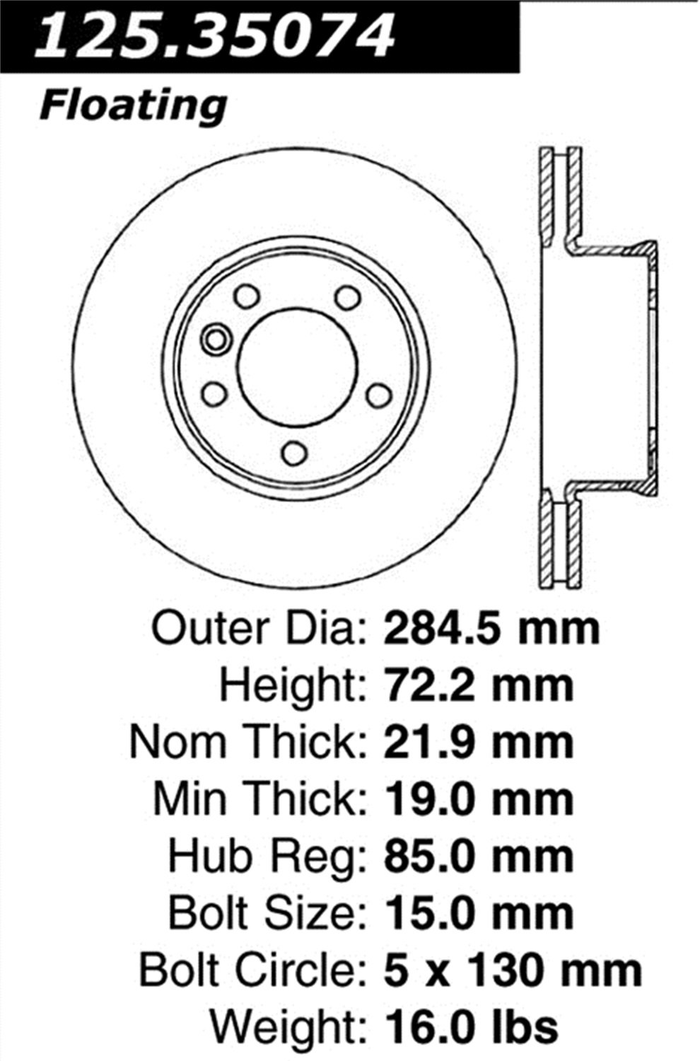 Centric 125.35074 Front Brake Rotor StopTech