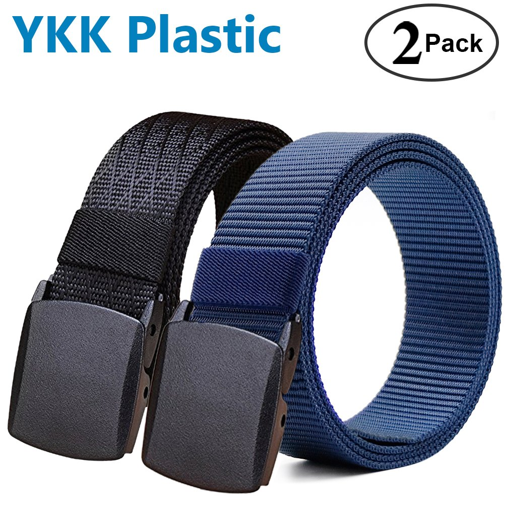 Fairwin Men's Tactical Nylon Web Belt with YKK Plastic Buckle and Metal Buckle. 2 Pack, Black and Blue