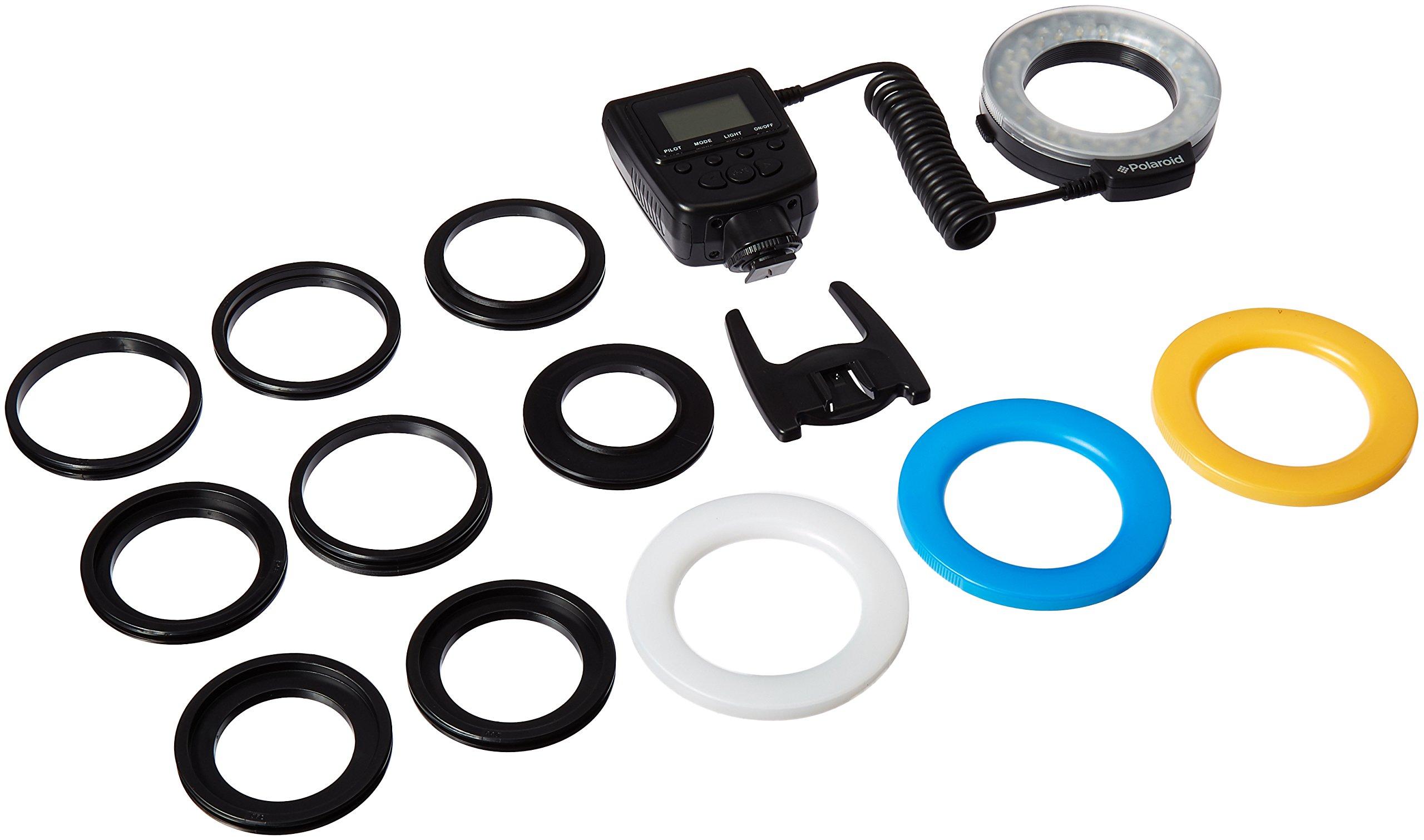 Polaroid 48 Macro LED Ring Flash & Light Includes 4 Diffusers (Clear, Warming, Blue, White) For Canon, Nikon, Panasonic, Olympus, Pentax SLR Camera