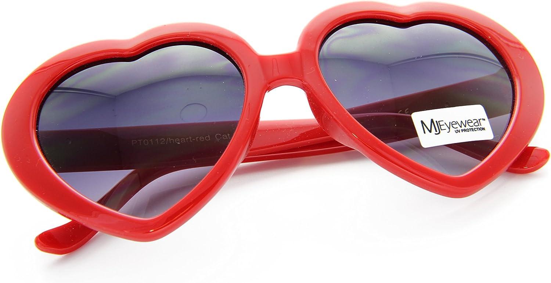 80s Love Heart Shaped sunglasses Lolita Smoke Lens Bold Red, 52