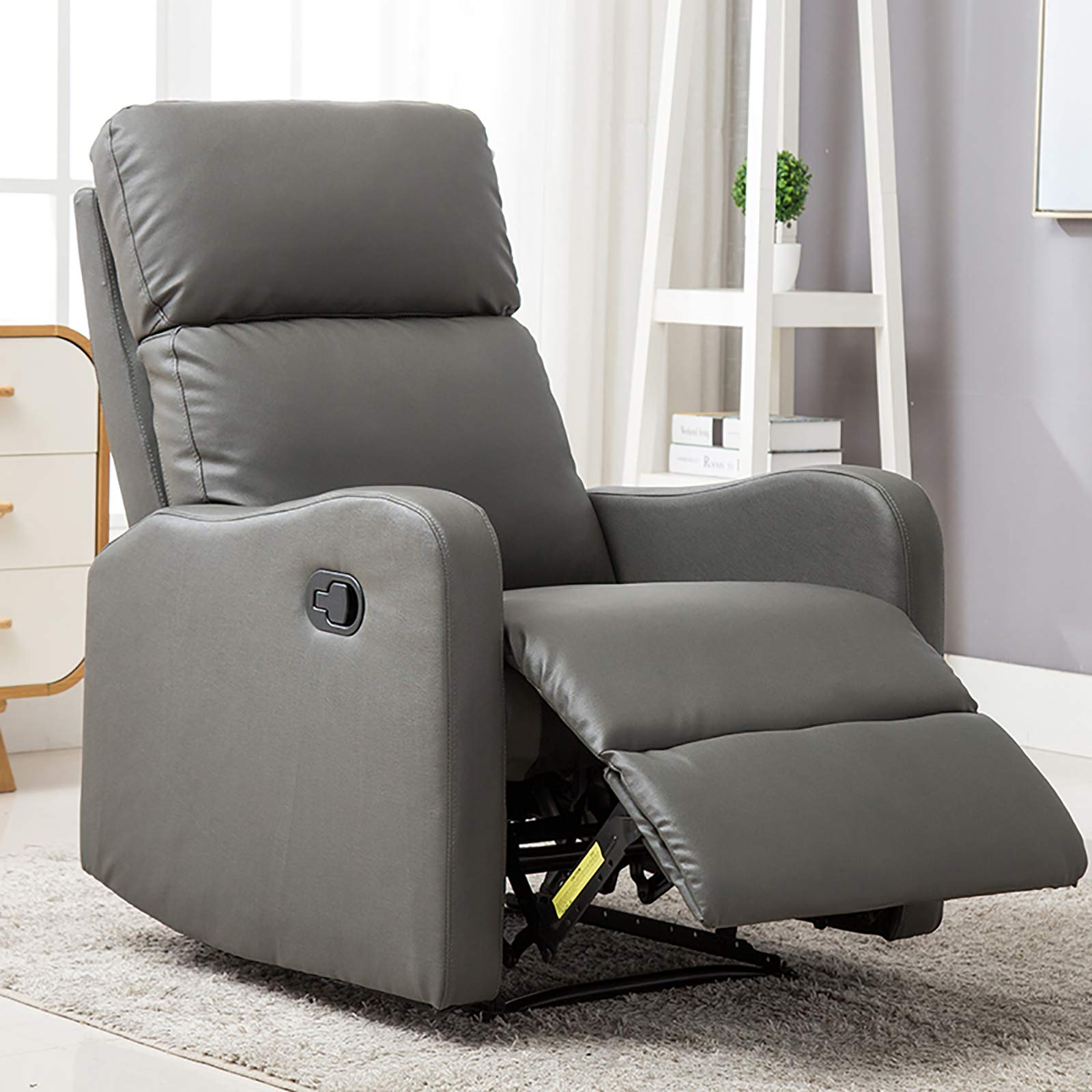 ANJ Chair Contemporary Leather Recliner Chair for Modern Living Room Classic Grey by ANJ