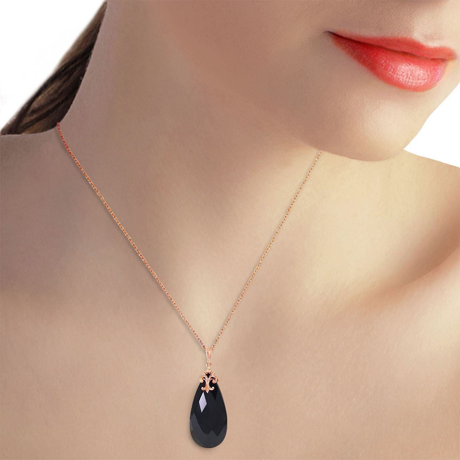 ALARRI 14K Solid Rose Gold Necklace with Briolette 31x16 mm Black Onyx with 20 Inch Chain Length