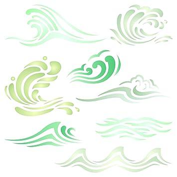 amazon com waves stencil 8 5 x 8 5 inch l reusable ocean sea