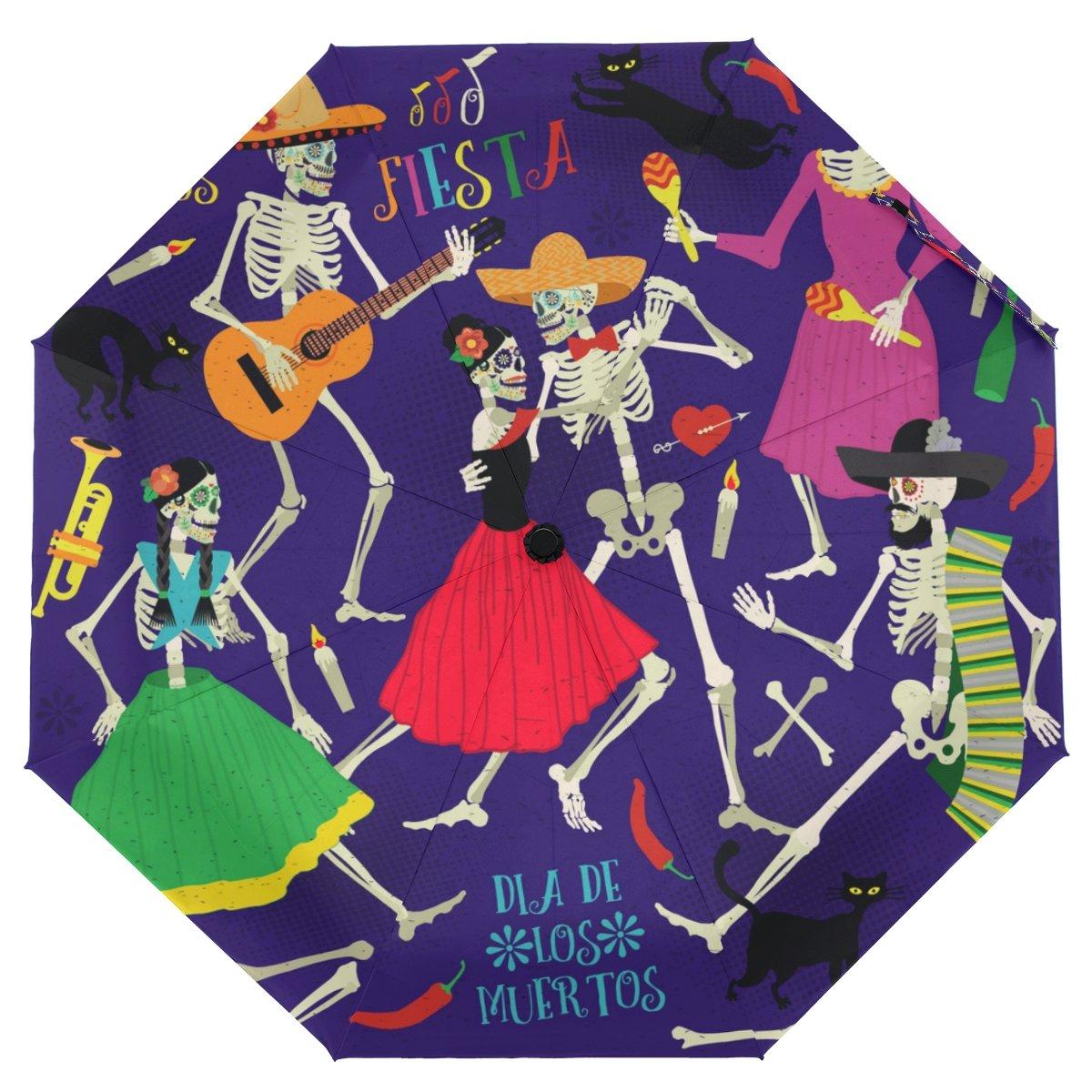 クーパーGirlハロウィンスカル音楽パーティー傘太陽雨旅行の傘UV保護キッズガールズボーイズ   B07FX8PR2S