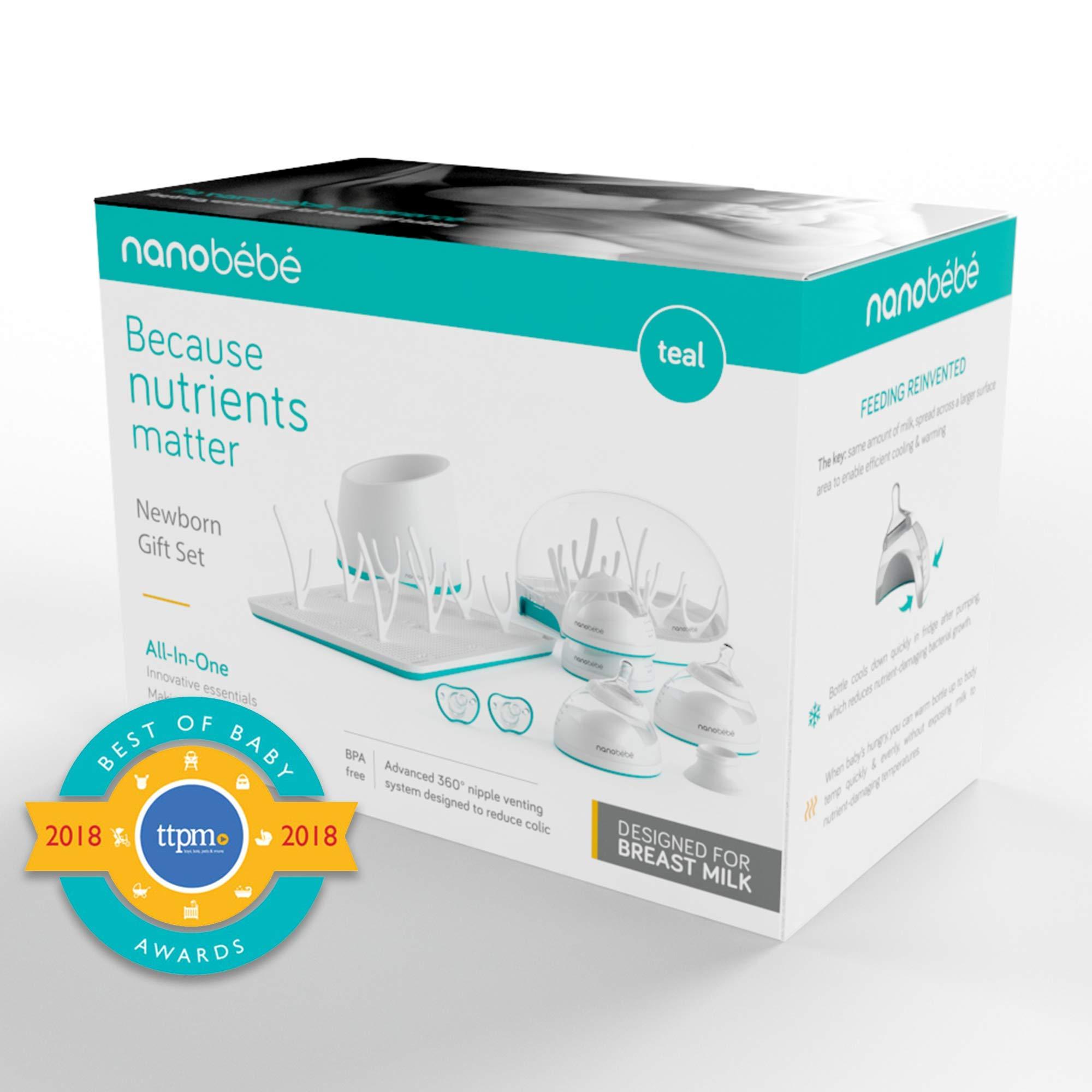 nanobébé Newborn Breastfeeding Bottles & Sterilization Kit – Anti Colic Baby Bottle Starter Set with Warming Bowl, Steam Sterilizer, Drying Rack, & Pacifiers – Top Registry Gift Set by NANOBÉBÉ (Image #2)