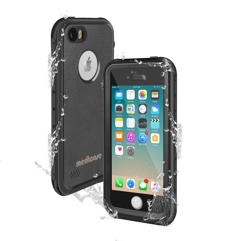 859ee22b91 Amazon | Merit iPhone SE/5s/5 完全防水ケース iphone 5S防水ケース アイフォン5Sケース防雪 防塵 防埃 耐衝撃  IP68防水レベル (ブラック) | ケース・カバー 通販
