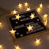EFFE Catene Luminose 20 Stelle 3M Batteria Alimentata LED Luci Illuminazione Decorativa Ideale per Albero di Natale, Halloween, Matrimonio, Decorazione della stanza, Party, Giardino, Warm White