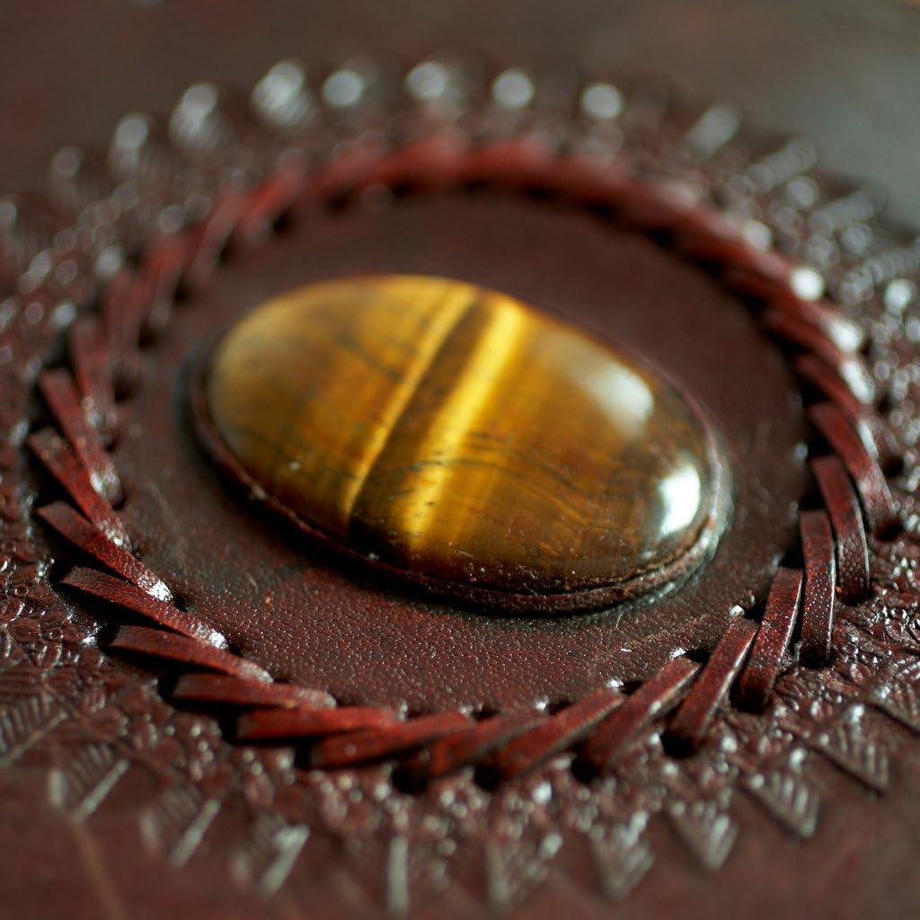 Indra Carnet de notes en cuir commerce /équitable A4 205 x 300 mm avec gaufrage et pierre semi-pr/écieuse