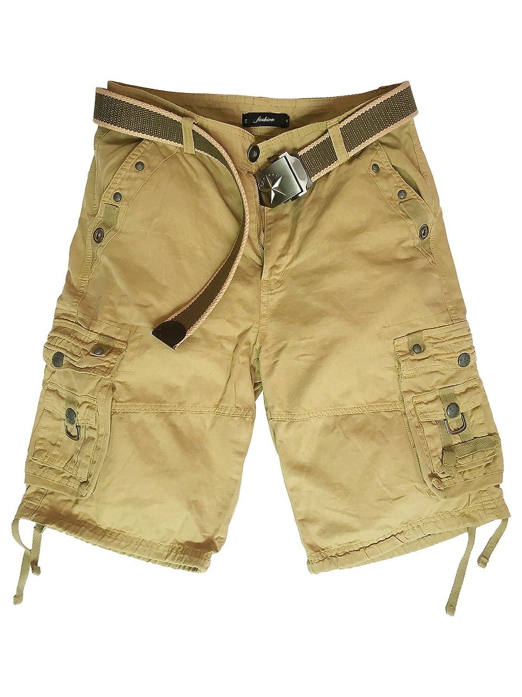 Xudom Womens Cargo Shorts Casual Bermuda Cotton Multi-Pockets Pants