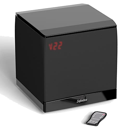 Definitive Technology SuperCube 4000 Compact 8 Powered Subwoofer Superior Bass, 1200 Watts Power Precision Sound Fits in Less Than 1 Cubic Foot Space Includes Rubber Spiked Feet