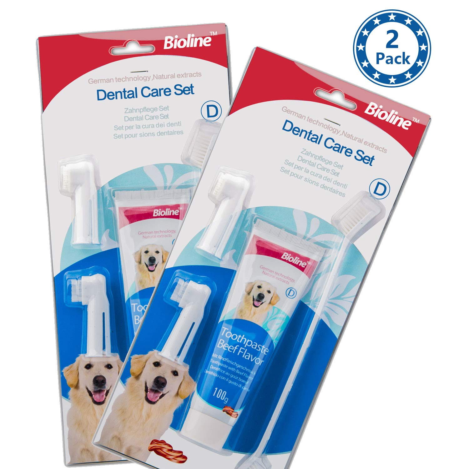 bioline 2 Pack of Dental Care Set Beef Flavor Toothpaste & Toothbrush Pet Oral Teeth Cleaning kit, 100g (3.5oz) by bioline