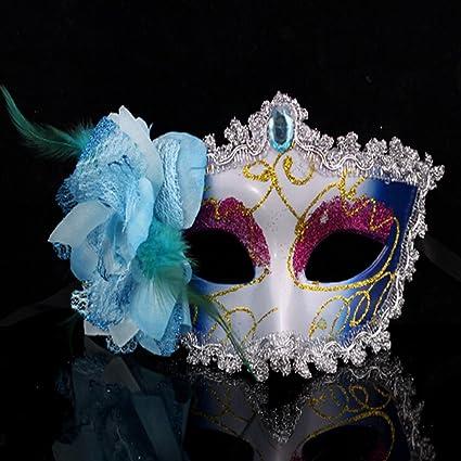 Flores Color de rosa Spritech™ lateral Halloween fiesta de baile princesa Venecia máscara azul