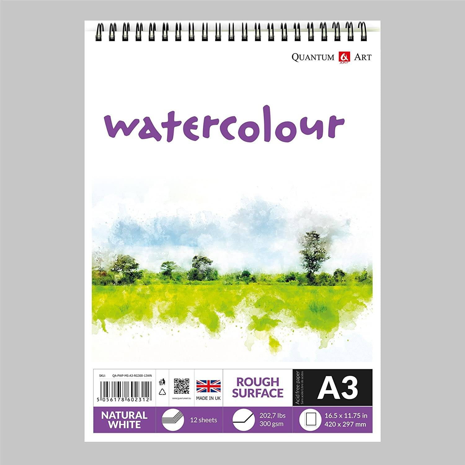 A4 Watercolour Rough Surface Pad Drawing Artist Paper on Spiral Book - 300gsm Quantum Art