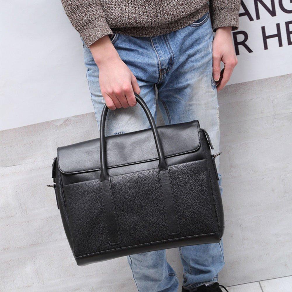 36.5x29x9.5cm DQMSB Mens Handbag Leather Cross-Section Business Briefcase Crossbody Shoulder Bag Black