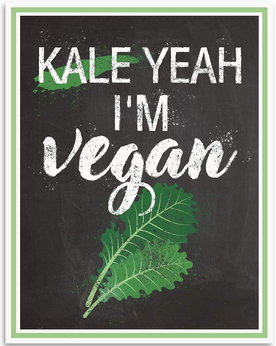 Gabby's Choice Kale Yeah I'm Vegan Wall Decor - 11x14 Unframed Art Print - Great Gift to Vegans
