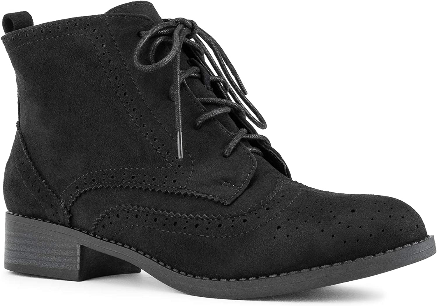 RF ROOM OF FASHION Women's Wing Tip Saddle Lace up Oxford Flats Ankle Boots Black Size.6