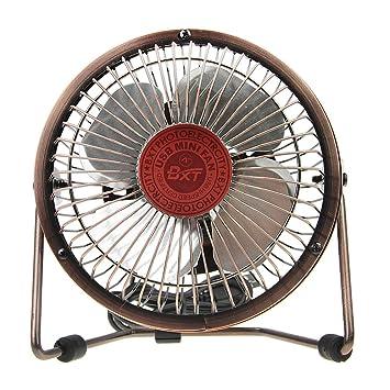 Desk Fan, BXT 6 Inch Antique Bronze Silent Office USB Fan Rotating Portable  Mini Fan