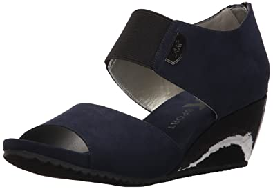 Anne Klein Womens Cassie Synthetic Wedge Sandal Black Synthetic Size 85
