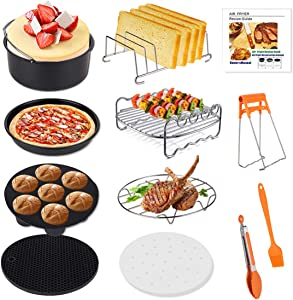 Genround 13pcs XL Air Fryer Accessories with Recipe Book, 8inch Cake Tin, Pizza Tray, BBQ Rack, Toast Rack, Cooking Tongs, Baking for Air Fryers More Than 3.8QT/3.6L Gowise Phillips Cozyna and Oven