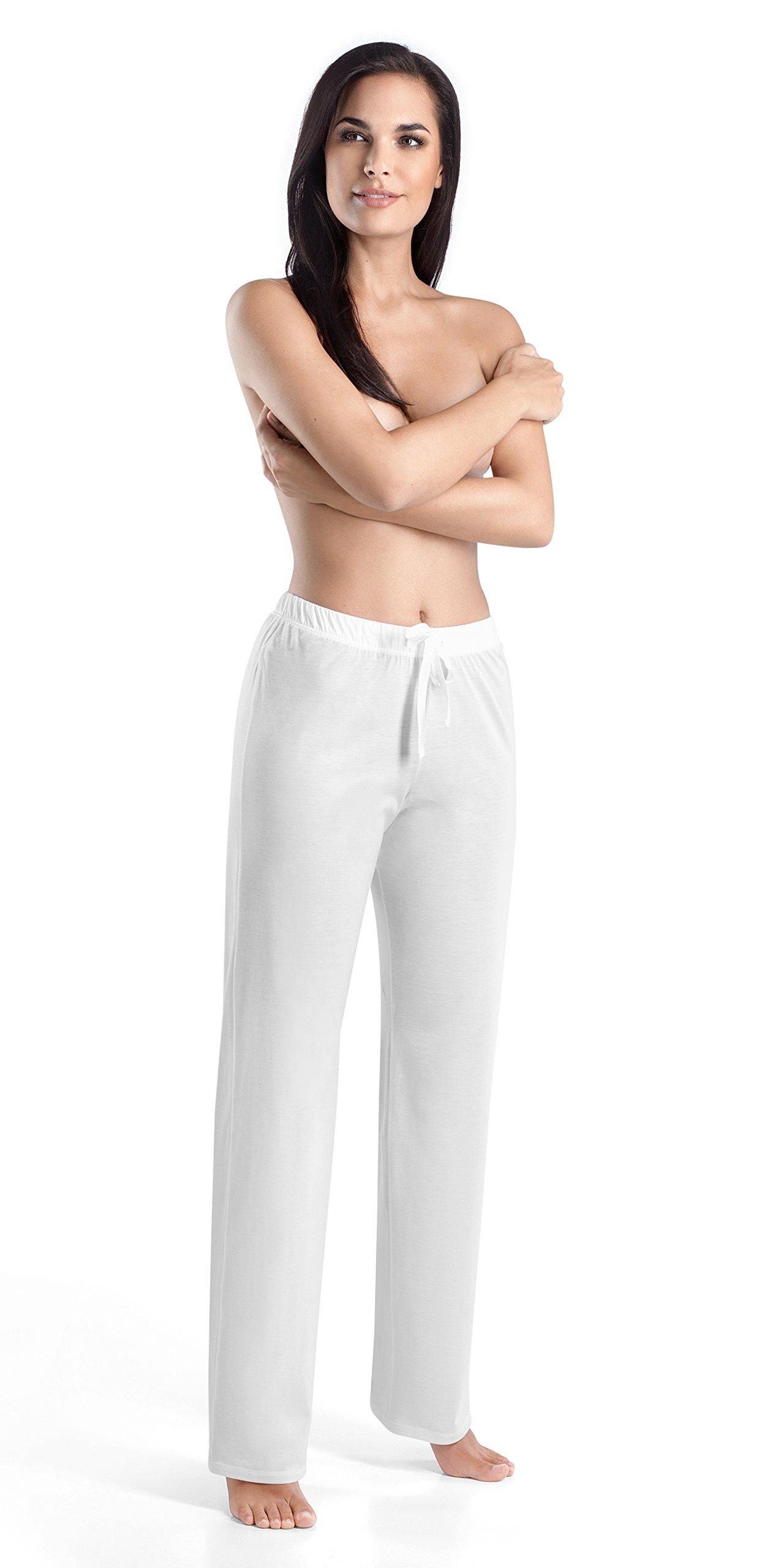 Hanro Women's Cotton Deluxe Drawstring Pajama Pant, White, X-Small