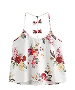 SweatyRocks Women's Sleeveless Loose Cami Blouses Spaghetti Strap Tank Top Floral L
