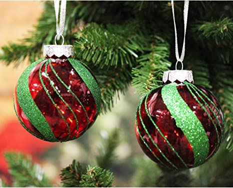 Sleetly Shatterproof Red And Green Ornaments Classic Christmas Set Of 12 Home Kitchen