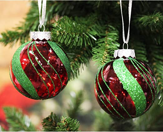 amazon com sleetly shatterproof red and green ornaments classic christmas set of 12 home kitchen sleetly shatterproof red and green ornaments classic christmas set of 12