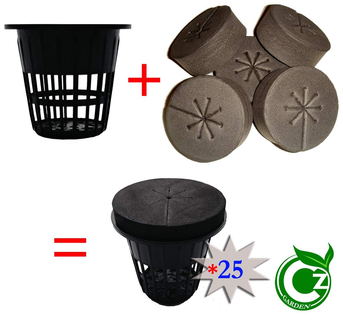 2 inch Net Cups Cloning Collar Inserts Combo 25 Pack for DIY Cloners 2 inch Black Pots Black Inserts