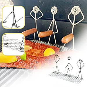 Steel Hot Dog,Marshmallow Barbecue Skewers,Barbecue Skewer Fun Humanoid Forks Hot Dog Grill Holder Hotdog Cooker Outdoor Camping Cooking Tools for Campfire Firepit and Sausage BBQ