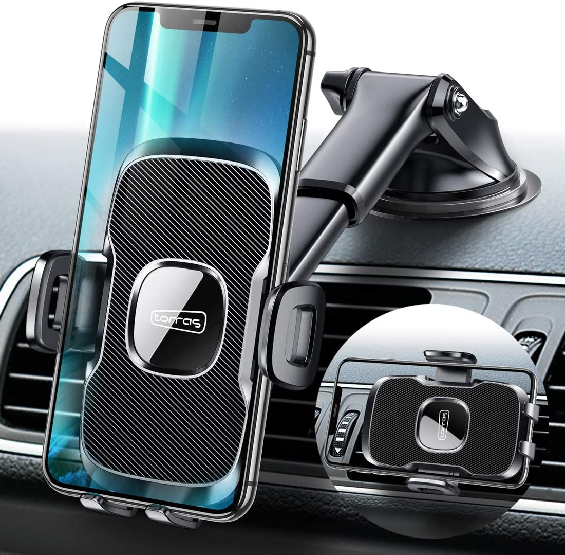 TORRAS [Military Grade] Cell Phone Holder for Car, Universal Car Phone Mount Dashboard Windshield Vent Compatible with iPhone 11 Pro Max XS X XR 8 Plus 7, Samsung S20+Ultra Note10 Plus S9 S8 and All