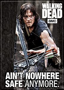 """Ata-Boy The Walking Dead Daryl Ain't Nowhere Safe 2.5"""" x 3.5"""" Magnet for Refrigerators and Lockers"""