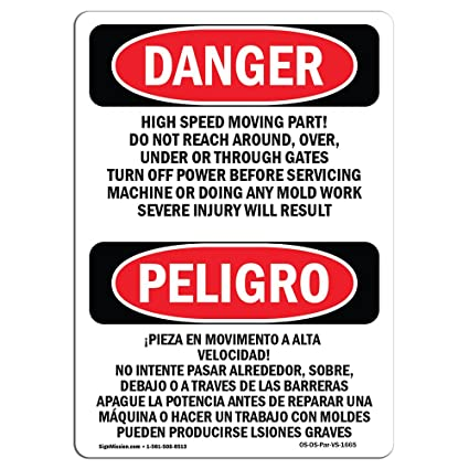 Señal de Osha Danger, parte de movimiento de alta velocidad ...