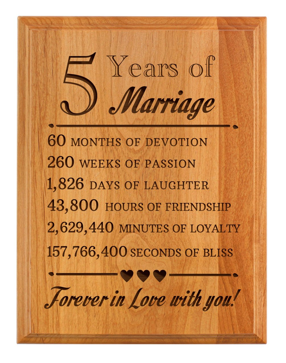 5th Wedding Anniversary Gift.Thiswear 5th Wedding Forever In Love You Wood 7x9 Oak Wood Engraved Plaque Wood
