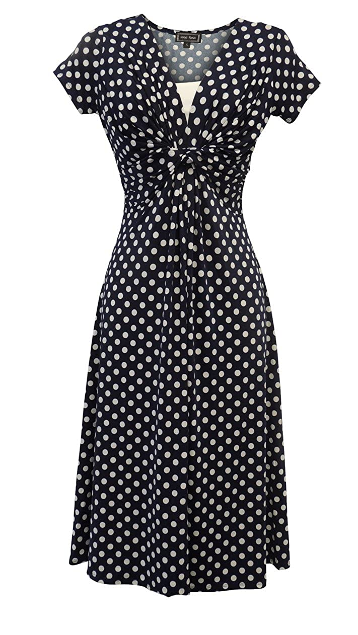 1940s Dresses and Clothing UK | 40s Shoes UK Viva-la-Rosa New Ladies Blue Deco Polka Dot Vtg Retro WW2 Landgirl 1940s/50s Pin-up Tea Dress  AT vintagedancer.com