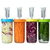 Jillmo Fermentation Kit, Plastic Fermenter Lid with Airlock for Wide Mouth Mason Jar, (4 Set, Jars,Weights Not Included)