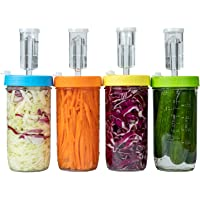 Jillmo Fermentation Kit, Plastic Fermenter Lid with Airlock for Wide Mouth Mason Jar, (4 Set, Jars Not Included)