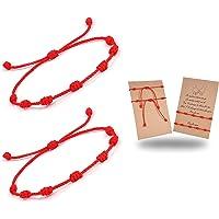 CASSIECA 2-8 Pcs Pulsera Roja 7 Nudos Amuleto Kabbalah Pulsera Ojo Turco con Mano de Fatima Hamsa Pulsera Hilo Rojo de…