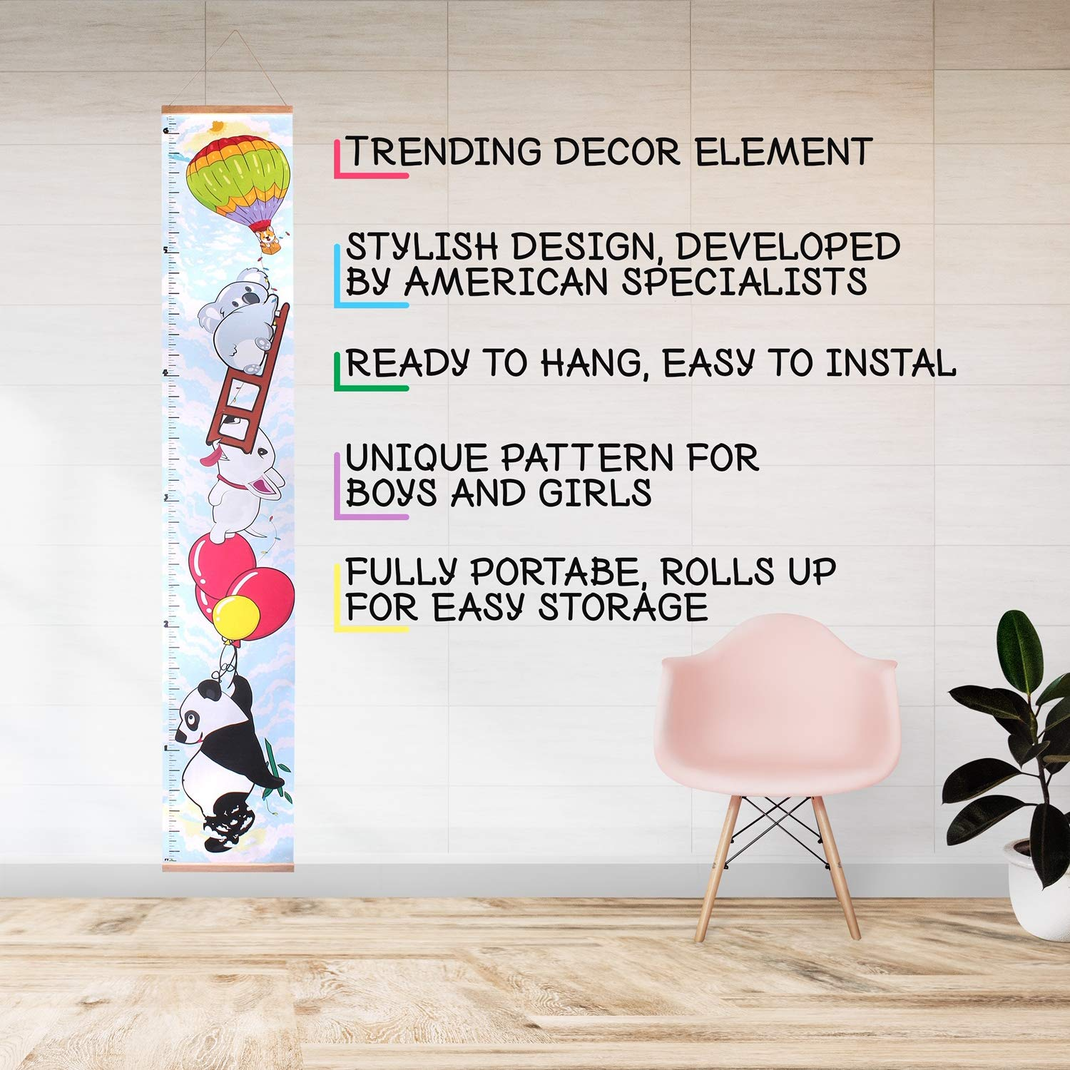 Height Growth Chart for Kids, Portable and Foldable Hanging Wall Ruler Chart, Appealing Universal Kids Room Decor for Boys and Girls, Birthday and Baby Shower Gift