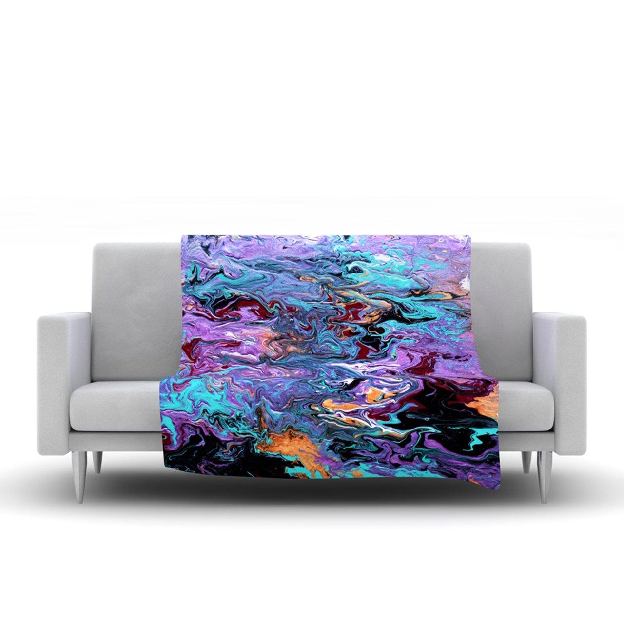 Kess InHouse Claire Day Lola Purple Paint Fleece Throw Blanket 80 by 60