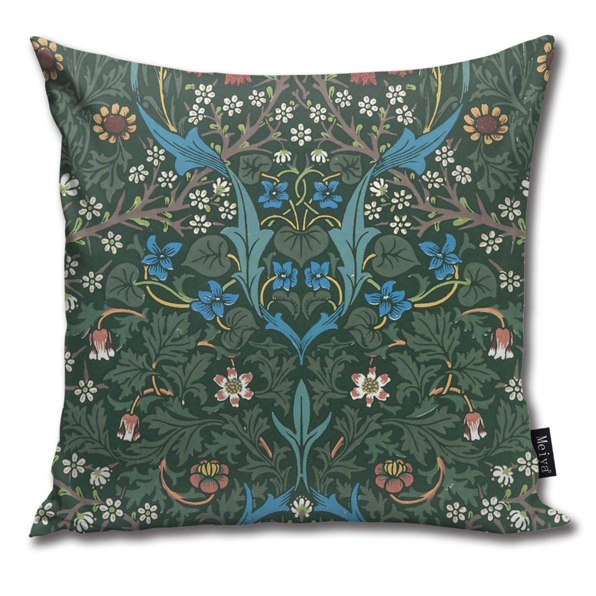1892 Pillow Cover BLUETOP William Morris Blackthorn Pattern 18 x 18 Inch Winter Holiday Farmhouse Cotton Cushion Case Decoration for Sofa Couch