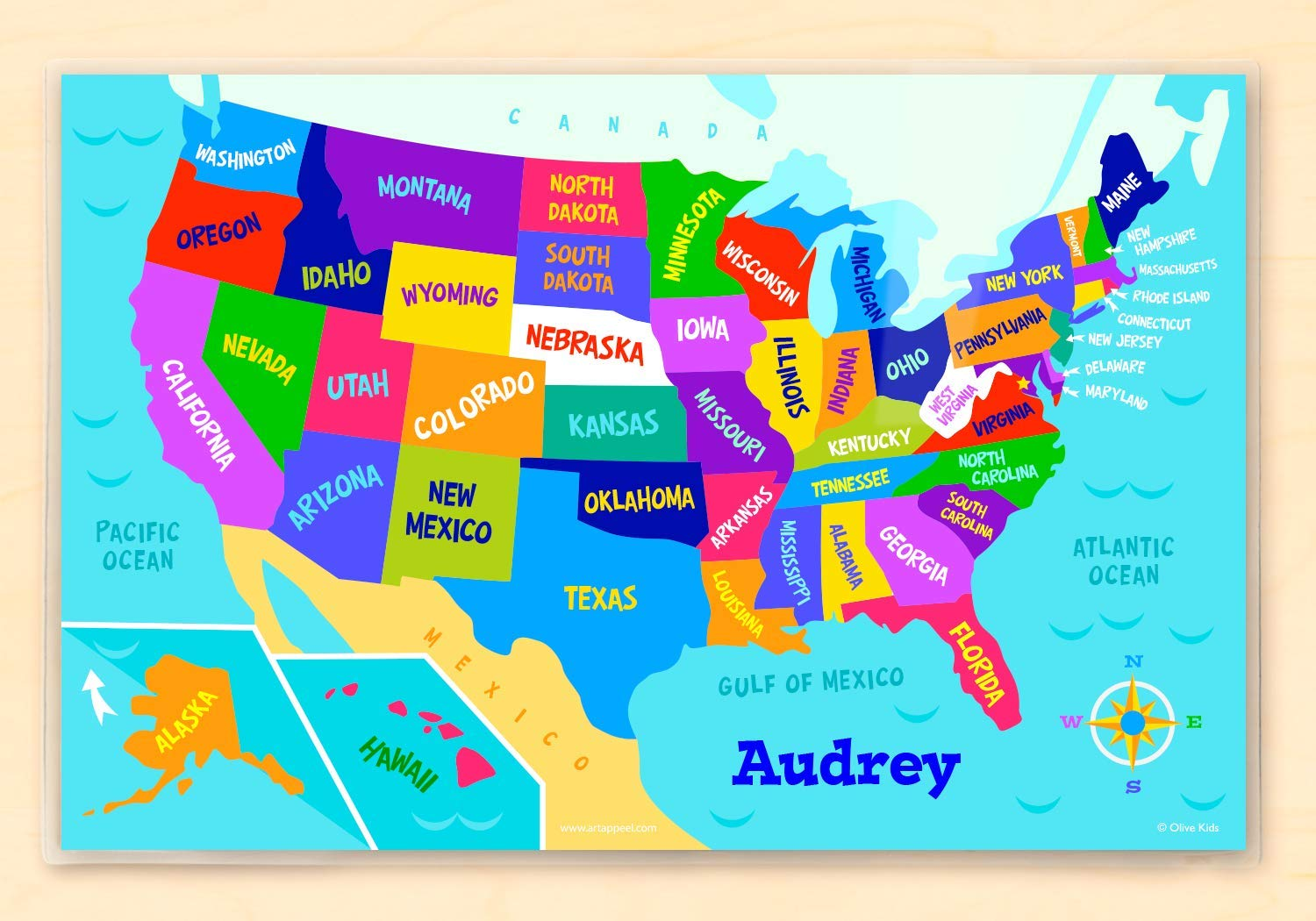 Amazon Com Olive Kids Personalized Usa Map Personalized Placemat