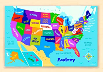 Olive Kids Personalized USA Map Personalized Placemat