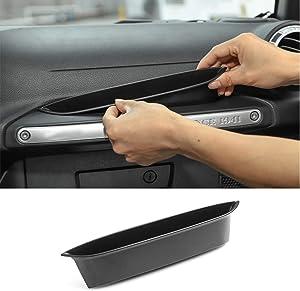 for Jeep JK GrabTray Passenger Storage Tray Organizer Grab Handle Storage Box for 2011-2018 Jeep Wrangler JK JKU Black